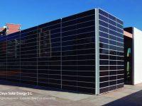 Budynek obłożony szkłem solarnym BIPV